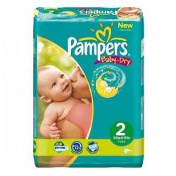 Pack d'une quantité de 48 Couches Pampers Baby Dry taille 2 sur Promo Couches
