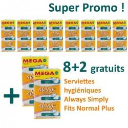 Pack de 360 Serviettes hygiéniques Always Simply Fits - 10 Packs de 36 Serviettes hygiéniques de taille NormalPlus sur Promo Couches