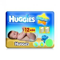 Maxi Pack 768 Lingettes Bébés Huggies Unistar - 12 Packs de 64 sur Promo Couches
