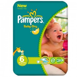 Pack de 31 Couches Pampers de la gamme Baby Dry taille 6 sur Promo Couches