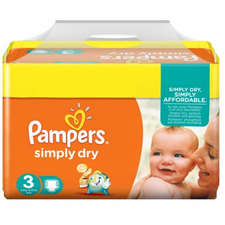 Couches pampers simply dry taille 3 pas cher 240 couches sur promo couches - Couches pampers taille 3 ...