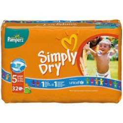 Pack 32 Couches de Pampers Simply Dry taille 5 sur Promo Couches