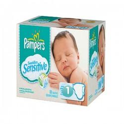 Pack économique 299 Couches de Pampers New Baby Sensitive de taille 1