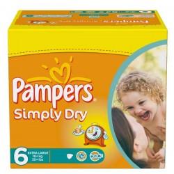 Pack d'une quantité de 62 Couches Pampers Simply Dry de taille 6 sur Promo Couches