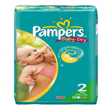 Pack 58 Couches Pampers Baby Dry de taille 2 sur Promo Couches