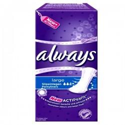 Pack 26 Serviettes hygiéniques Always Pantiliners de taille Large sur Promo Couches