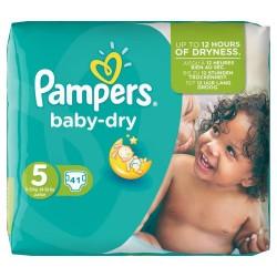 Pack d'une quantité de 41 Couches Pampers de la gamme Baby Dry taille 5 sur Promo Couches