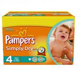 Pack de 240 Couches Pampers de la gamme Simply Dry taille 4 sur Promo Couches