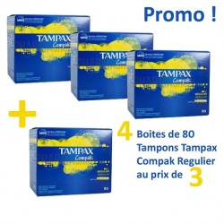 Maxi Pack 320 Tampons Tampax Compak - 4 Packs de 80 de taille RegularavecApplicateur sur Promo Couches
