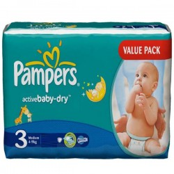 Maxi Pack 192 Couches Pampers Active Baby de taille 3