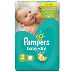 Pack 52 Couches Pampers de la gamme Baby Dry taille 2 sur Promo Couches