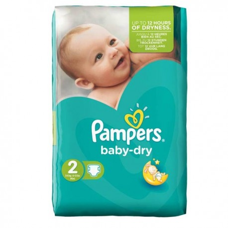 Pack 44 Couches Pampers de la gamme Baby Dry de taille 2 sur Promo Couches