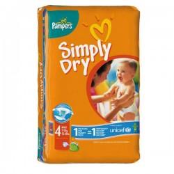 Pack d'une quantité de 46 Couches Pampers Simply Dry taille 4 sur Promo Couches