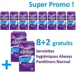 Pack de 300 Serviettes hygiéniques Always de la gamme Pantiliners - 10 Packs de 30 Serviettes hygiéniques de taille Normal sur Promo Couches