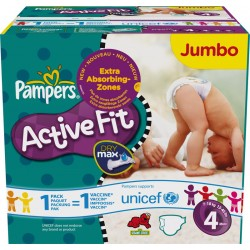 Pack 270 Couches Pampers de la gamme Active Fit taille 4 sur Promo Couches