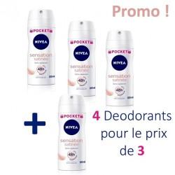 Pack d'une quantité de 4 Deodorants Nivea de la gamme Sensation Satinée - 4 au prix de 3 de taille Pocket sur Promo Couches