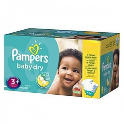 Pack 68 Couches Pampers Baby Dry taille 3+ sur Promo Couches