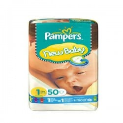 Pack 50 Couches de Pampers New Baby taille 1 sur Promo Couches