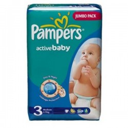 Pack 96 couches Pampers Active Baby