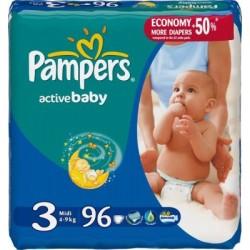 Pack de 96 Couches Pampers de la gamme Active Baby de taille 3