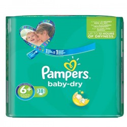 Pack 38 Couches Pampers Baby Dry taille 6+