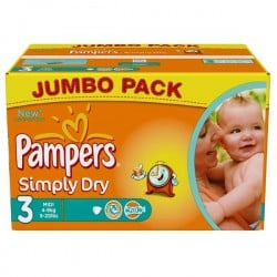 Pack économique 280 Couches Pampers Simply Dry taille 3 sur Promo Couches