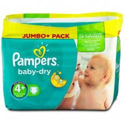 Mega Pack d'une quantité de 210 Couches de Pampers Baby Dry de taille 4+ sur Promo Couches