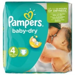 Pack 46 Couches Pampers de la gamme Baby Dry taille 4 sur Promo Couches