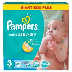 Pack 132 Couches Pampers Active Baby Dry de taille 3 sur Promo Couches