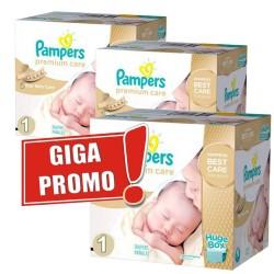 Pack économique Jumeaux de 1012 Couches Pampers de la gamme Premium Care de taille 1 sur Promo Couches