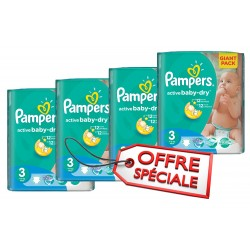 Maxi Giga Pack Jumeaux 660 Couches Pampers de la gamme Active Baby Dry taille 3 sur Promo Couches