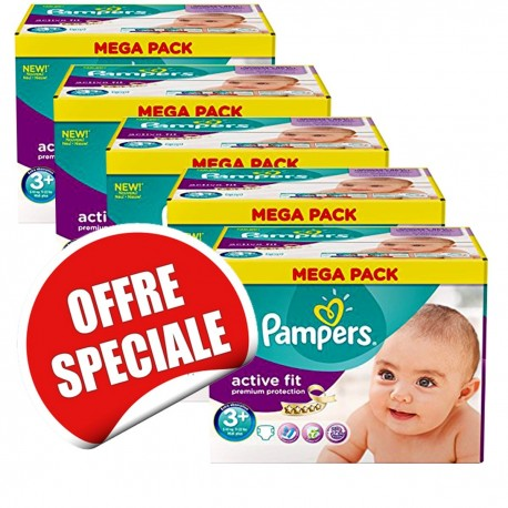 Maxi Giga Pack Jumeaux de 560 Couches Pampers Active Fit taille 3+ sur Promo Couches
