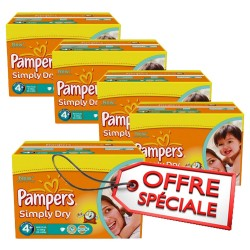 Maxi giga pack jumeaux 880 Couches Pampers Simply Dry de taille 4+ sur Promo Couches