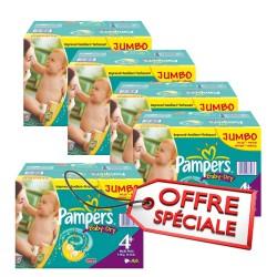 Maxi giga pack jumeaux d'une quantité de 1008 Couches de Pampers Baby Dry de taille 4+ sur Promo Couches