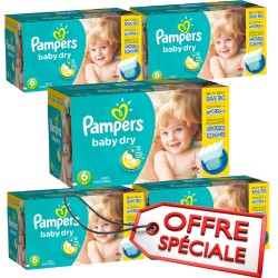 Maxi Giga Pack Jumeaux 627 Couches Pampers Baby Dry de taille 6