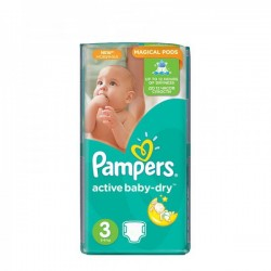 Paquet de 74 Couches Pampers Active Baby Dry taille 3 sur Promo Couches
