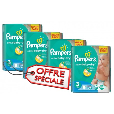 Giga pack 814 Couches Pampers Active Baby Dry de taille 3 sur Promo Couches