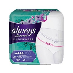 Pack 12 culottes incontinence ALWAYS DISCREET Normal sur Promo Couches