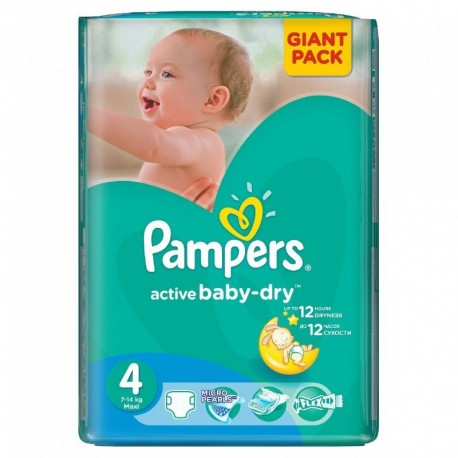 Pack 58 Couches Pampers de la gamme Active Baby Dry taille 4 sur Promo Couches