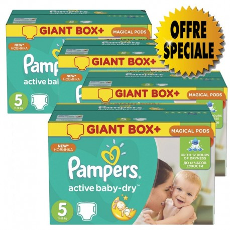 Gros pack 522 Couches de la marque Pampers Active Baby Dry taille 5 sur Promo Couches