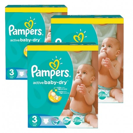 Mega pack 296 Couches Pampers Active Baby Dry taille 3 sur Promo Couches