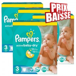 Gros pack 444 Couches Pampers Active Baby Dry de taille 3