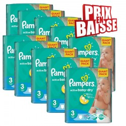 Giga pack 592 Couches Pampers Active Baby Dry taille 3