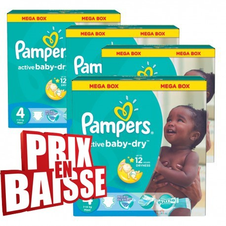 Giga pack 290 Couches Pampers Active Baby Dry de taille 4 sur Promo Couches