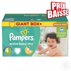 Pack économique 348 Couches pampers Active Baby Dry de taille 4