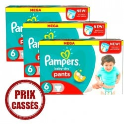 Pack économique 105 Couches Pampers Baby Dry Pants 6