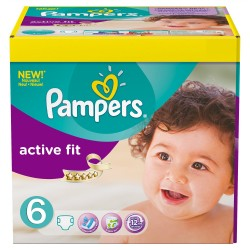 Maxi Giga Pack 124 Couches Pampers Active Fit 6