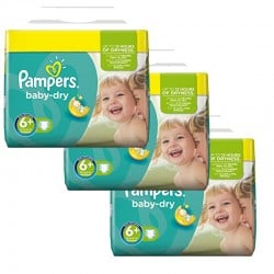 Maxi Mega pack 114 Couches Pampers Baby Dry taille 6+ sur Promo Couches