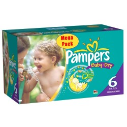 Maxi Mega pack 152 Couches Pampers Baby Dry taille 6+