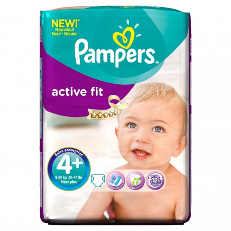 Pack 50 Couches Pampers Active Fit taille 4+ sur Promo Couches